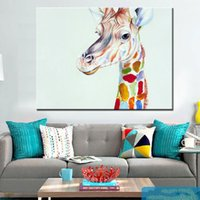 baby giraffes pictures - Hand painted modern home decor wall art picture kid animal oil painting giraffe canvas painting for living room baby room