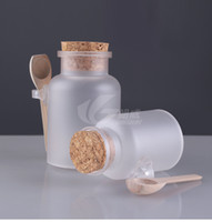 abs decals - 100g g Bath Salt ABS Bottle and Powder Plastic Bottle with Cork Jar with Wood Spoon