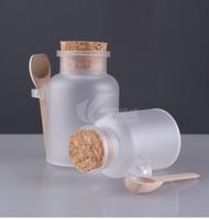 achat en gros de bouteilles en plastique bouchons-100g 200g de sel de bain ABS bouteille et poudre bouteille en plastique avec un pot de liège avec cuillère en bois Livraison gratuite