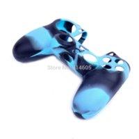 Bleu de protection en silicone Soft Gel Housse Etui Sleeve pour Sony PS4 Controller couvercle support électronique manchon