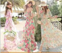 beach swing - Bohemian cute chiffon ruffles printed maxi tutu pleated dress plus size women summer fashion sweet prom party Beach big swing long dresses