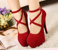 Cheap 2016 women New Red Strappy Heels Pumps Best Wedding Club Party Cheap High Heel shoes