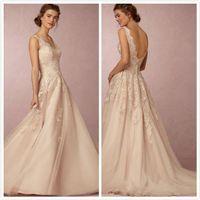 Wholesale 2016 autumn winters BHLDN antique lace wedding dress unbacked V neck sweep train chiffon beach wedding dress custom plus size wedding dress