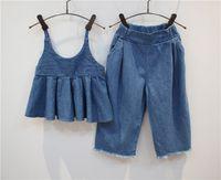 american vintage clothing wholesale - Kids Girls Outfits Summer Vintage Denim Halter Tops and Harem Denim Pants Sets Cute Children Fashion Clothing Casual Clothes