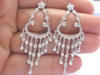 bezel diamond earrings - 18Kt Round Cut Diamond Bezel Set Chandelier Earrings White Gold Ct E VVS2