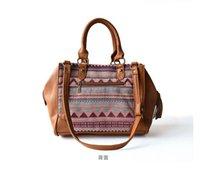 leather purse handles - Fashion Canvas Leather Handbags Women Girl Lady Stripes Totem Crochet Ethnic Tassel Top Handle shoulder Bags Purse Wristlet Bag