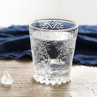 beer flute glass - Poly cute Zakka retro embossed floral glass cup mousse glass cup transparent art juice cup