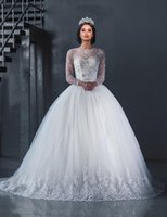 Wholesale Custom made Luxury White Lace Ball Gown Wedding Dress Pearls Beaded Appliques Wedding Dresses Tulle Long Sleeve Ball Gown Wedding Gowns