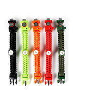 alloy parachute - 550 Paracord Parachute military survival Bracelets Hand Made with whistle compass LED lighting Camping Equipment Cobra Custom