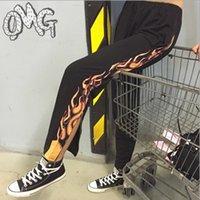 Wholesale New Arrive Flame Fire printed Side zipper black pants trousers Elastic waist women fashion Harajuku hip hop pants YQ