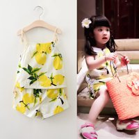Cheap Summer 2016 new children outfits girls lemon fruit printed lace-up suspender vest tops +cotton shorts 2pcs sets kids princess clothing A8428
