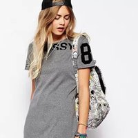 adult color t shirt - 2016 New fashion High Quality young girl short sleeved summer women s letters printed two color three yards T shirt dress