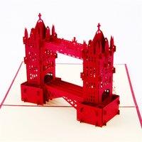 Wholesale 10pcs Laser Cut Wedding Invitations D Pop UP Card Cubic Thames Bridge Greeting Cards