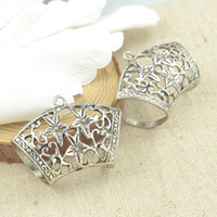 Wholesale Vintage tibetan silver flower charm metal buckle fit diy scarf connector jewelry accessories mm