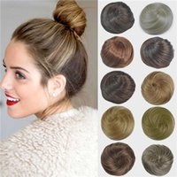 Wholesale Straight Wedding Bridal Updo Chignon Fluffy Bun Synthetic Hair Extensions Pieces for Black Women More Colors