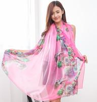beautiful scarf pattern - New Design Women Beautiful Rose Pattern Silk Shawl Wrap Wraps Scarf Scarves