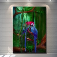 Wholesale Vintage Abstract Colorized Parrot Painting Picture Canvas Poster Bar Pub Home Art Decor Custom Fashion Print Canvas Painting