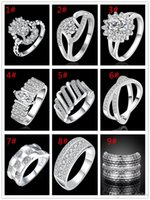 Wholesale Hot Jewelry Silver ring Zircon Crystal Jewelry European and American Fashion Diamond Jewelry Silver