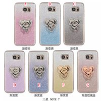 silicone finger cover - Diamond Bling Soft TPU Case Glitter Finger Ring Grip Stand Silicone Gradient For Samsung Galaxy NOTE7 NOTE Skin Cover Cell phone Fashion