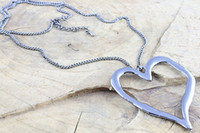 curb link chain - Large abstract metal heart pendant and long curb chain necklace silver lagenlook