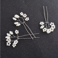 Wholesale Wedding Hair Jewelry Fashion Women Elegant Brief High Quality Silver Plated Imitation Pearls Flowers Hairpins Piece SHR449