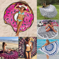 Wholesale Mandala Mat Round beach Yoga Throw Mat TOWEL SUMMER Indian Bohemian Tapestry Blanket Hippie Picnic Blankets Printed Bath Towels Tassel Decor