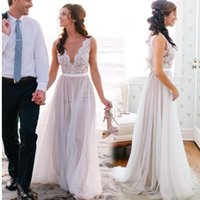 Wholesale New Arrival Sleeveless Sweep Train Sexy Summer Mermaid Lace Beach Wedding Dresses Tulle Custom Made