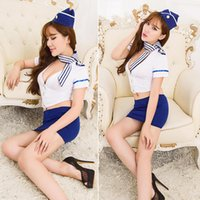 air hostess costume - Airline stewardess uniform with hat Women Sexy Lingerie cosplay Air Hostess Airline Stewardess uniform Sexy lingerie costumes