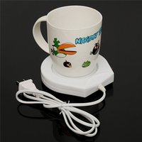 Wholesale NEW v US Plug White Electric Powered Drink Cup Warmer Pad Coffee Tea Milk Drink Mug Heater Tray For Office House Use