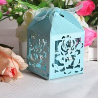 Wholesale Flower Laser Cut Candy Gift Boxes With Ribbon Wedding Party Favor Creative Favor Bags