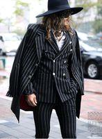 Wholesale New Fashion Brand Men Suit Slim Fit Double Breasted Stripe Dress Sequin Mens Tuxedo Suits With Pants For Men Italian M XXL