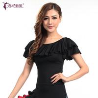Wholesale Modern ballroom O neck short sleeve ruffle Latin dance top for female women girl costume performance wears plus size color