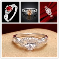 Wholesale Hot sale pieces fashion double C with stone sterling silver finger ring Brand new women s silver three colors gemstone Rings GTR009
