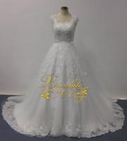 bellissima bridal - Bellissima Wedding Dresses A Line Sheer V Neck Cap Sleeves Lace Appliqued Chapel Train Real Image Designer Bridal Gowns