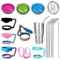Wholesale Cheapest DHL SEND oz oz Yeti Tumbler Rambler Handle Yeti Cup Straws Color Lids for oz Stainless Steel Yeti Mugs