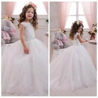 Wholesale 2016 White Lace Appliques Beaded Flower Girl Dresses Ball Gown Cuustom First Communion For Girls Girls Pageant Gowns