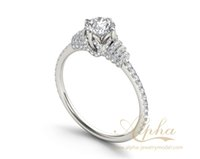 Wholesale Personalized design rhodium plated delicate clear sterling silver with cz eternity engagement rings for women BER0609
