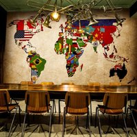 Wholesale 2 styles Vintage World Map Wallpaper Custom vintage stereoscopic D world map large mural wallpaper for Restaurants KTV Bars