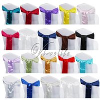 craft supplies - 10PCS Satin Chair Sash Bow quot x quot For Banquet Wedding Party Banquet BowTies Butterfly Craft Chair Cover Decoration Supplies