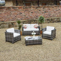 aluminium patio furniture - Luxurious Wide Rattan Weave Garden Patio Conservatory Furniture Sofa Set with Aluminium Frame New ROMA Rattan Wicker Weave Garden Furniture