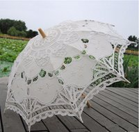 Wholesale Embroidered Cotton Lace Parasol Sun Umbrella Vintage Style Handmade Umbrellas Wedding Bridal Party Decoration Supplies Hot Sale