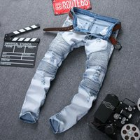 Wholesale 2016 New Designer Mens balmans Jeans High Quality Skinny Biker jeans for men Fashion balmaied Ripped Jeans Slim Fit Denim Overalls Brand