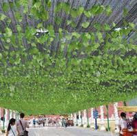 climbing wall - 2 M long Simulation Ivy Rattan Climbing Vines Green Leaf Artificial Silk Virginia Creeper Wall Decoration Home Decor