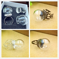 Wholesale 20 mm empty clear glass globe bottle ring finding set glass dome cover glass vial RING fashion jewelry rings style choose