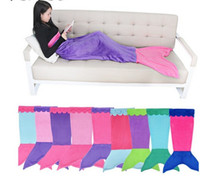 Wholesale Soft Handmade Mermaid Tail Fleece Blanket Lap Throw Bed Wrap Fin Warm Cocoon Costume Girls Kids Children Sleeping Bag S cm