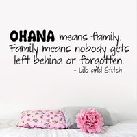 adhesive meaning - OHANA means Family Wall Stickers Move Lilo and Stitch Quotes Wall Decals for Kids Nursery Room Home Decorations