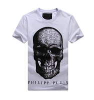 Wholesale high quality Philip Plein NEW T SHIRT Summer men s clothing behind rhinestones demon skull male fashion short sleeve T shirt