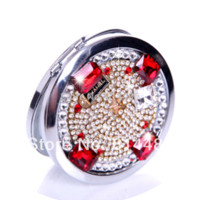 beautiful cosmetic glass - Beautiful ruby pocket mirror portable double dual sides stainless steel frame cosmetic mirror makeup mirrors framed glass shower door