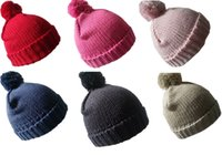 Wholesale newborn to months baby winter warm unisex knit softer beanie knit hat cuff hat cute hat with big Pom Pom