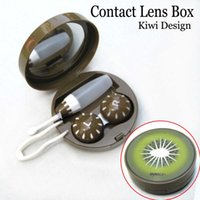 Wholesale Kiwi Fruit New Contact Lenses Case Box Holder Storage Set Glasses Lens Container Mirror Lens Companion Solution Cleaning Sticker Kit Cleaner